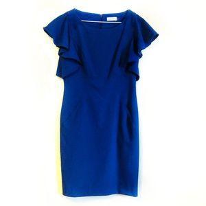 Calvin Klein   blue flutter sleeve sheath dress